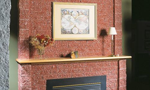 Mortarless brick fireplace mantel