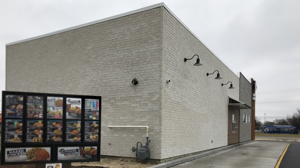 Mortarless Brick Veneer at Taco Bell location