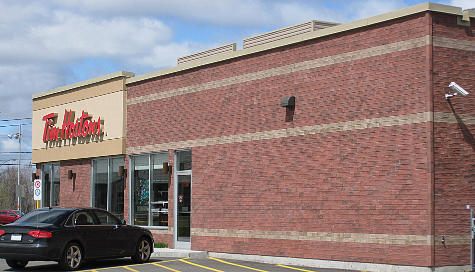 Mortarless Brick Siding at Tim Hortons